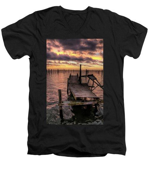 Dolphin Dock Men's V-Neck T-Shirt by John Loreaux