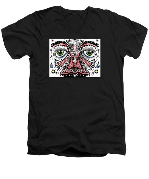 Men's V-Neck T-Shirt featuring the digital art Doodle Face by Darren Cannell