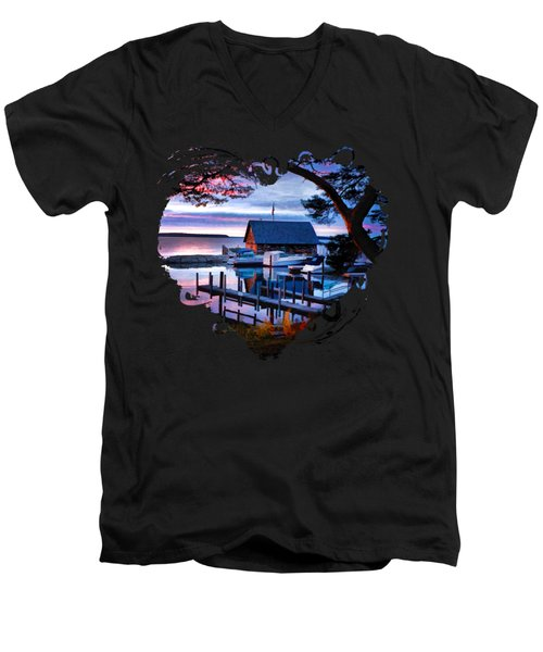 Men's V-Neck T-Shirt featuring the painting Door County Anderson Dock Sunset by Christopher Arndt