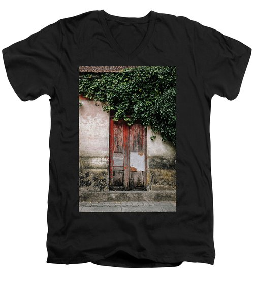 Men's V-Neck T-Shirt featuring the photograph Door Covered With Ivy by Marco Oliveira