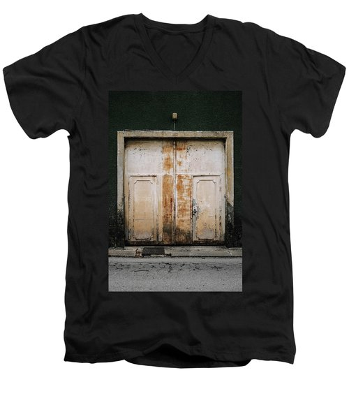 Men's V-Neck T-Shirt featuring the photograph Door No 163 by Marco Oliveira