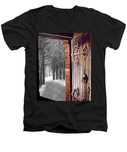 Doorway To Hadrian's Wood Men's V-Neck T-Shirt