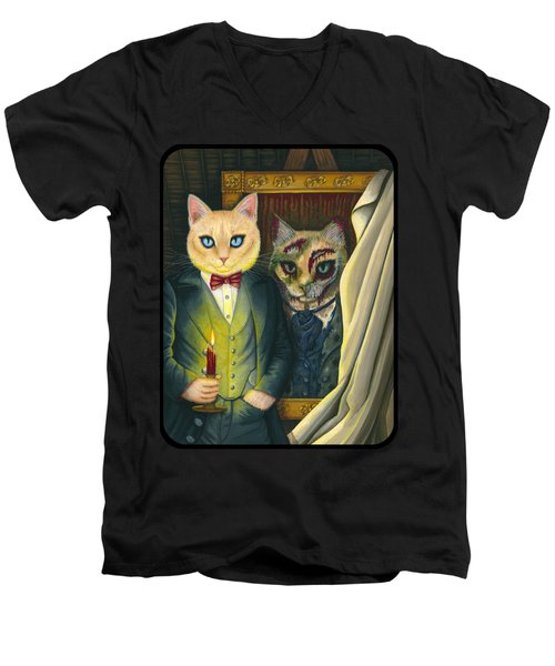 Men's V-Neck T-Shirt featuring the painting Dorian Gray by Carrie Hawks