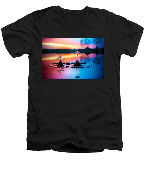 Men's V-Neck T-Shirt featuring the photograph Double Liquid Art by William Lee