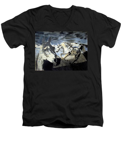 Men's V-Neck T-Shirt featuring the drawing Double by Melita Safran