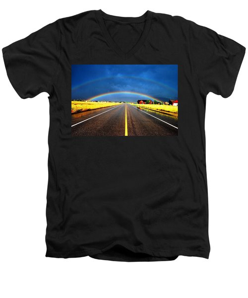 Double Rainbow Over A Road Men's V-Neck T-Shirt