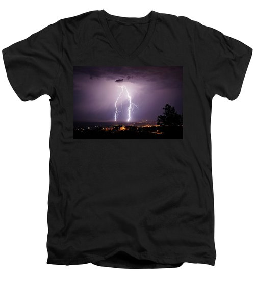 Men's V-Neck T-Shirt featuring the photograph Double Trouble by Ron Chilston
