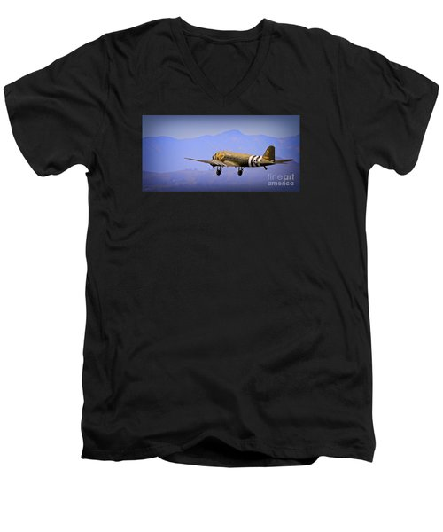 Douglas C-47 Invasion Blues Men's V-Neck T-Shirt