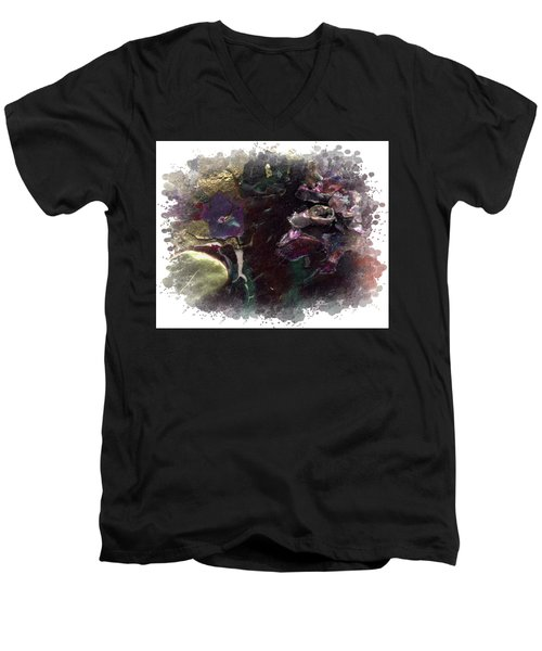 Men's V-Neck T-Shirt featuring the mixed media Down In The Valley by Angela L Walker
