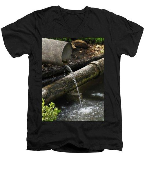 Men's V-Neck T-Shirt featuring the photograph Down The Pipe Line 01 by Kevin Chippindall