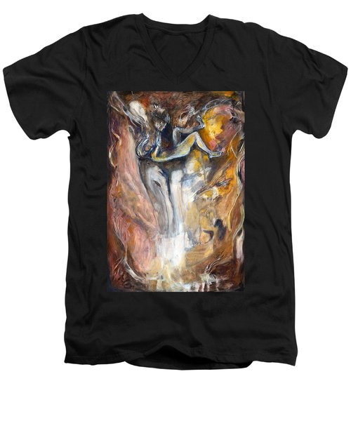 Down The Rabbit Hole Men's V-Neck T-Shirt by Nadine Dennis