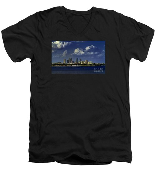 Down Town Tampa Men's V-Neck T-Shirt by Ken Frischkorn