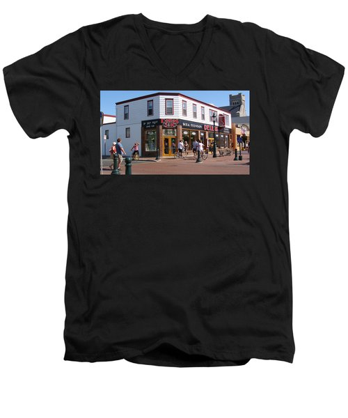 Men's V-Neck T-Shirt featuring the painting Downtown Cape May New Jersey by Rod Jellison