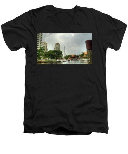 downtown Ft Lauderdale waterfront Men's V-Neck T-Shirt