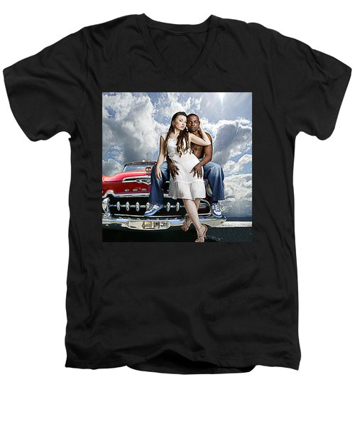 Men's V-Neck T-Shirt featuring the photograph Downtown by Jeff Burgess