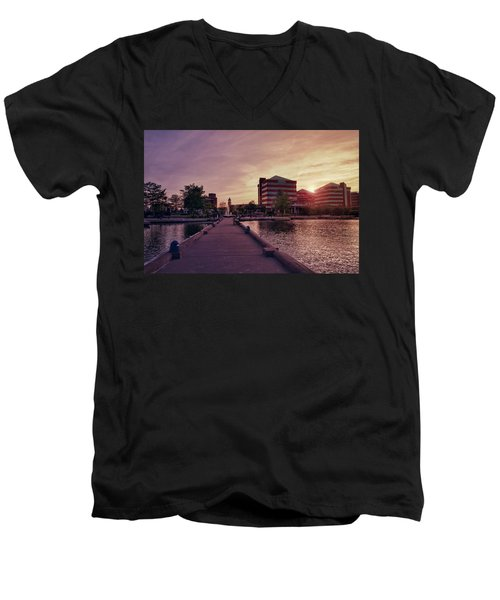 Men's V-Neck T-Shirt featuring the photograph Downtown Neenah Sunset by Joel Witmeyer