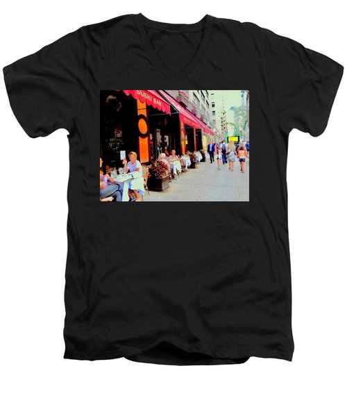 Downtown Sidewalk Men's V-Neck T-Shirt