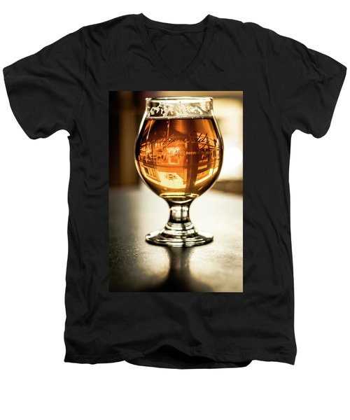Downtown Waukesha Through A Glass Of Beer At Bernie's Taproom Men's V-Neck T-Shirt