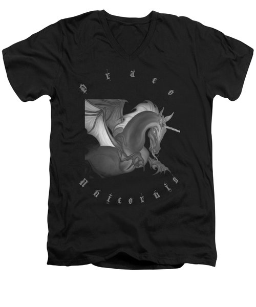 Dragon Unicorn  Men's V-Neck T-Shirt