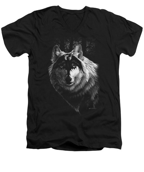 Dragon Wolf T-shirt Men's V-Neck T-Shirt by Stanley Morrison