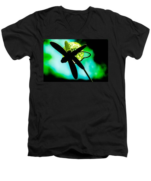 Dragonfly Crystal Men's V-Neck T-Shirt by Bruce Pritchett