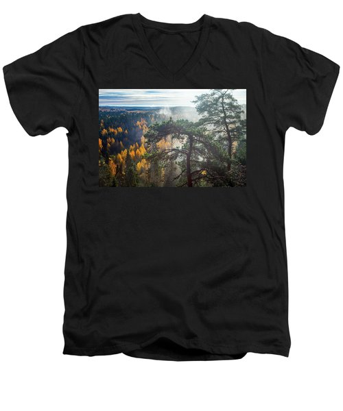 Dramatic Autumn Forest With Trees On Foreground Men's V-Neck T-Shirt by Teemu Tretjakov