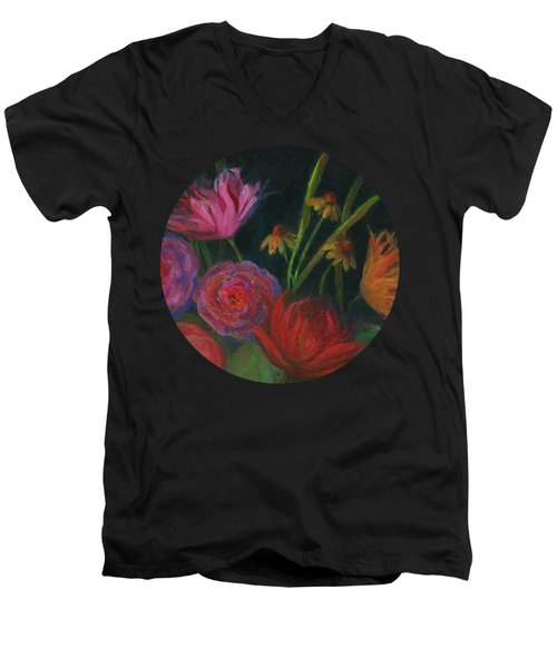 Dramatic Floral Still Life Painting Men's V-Neck T-Shirt