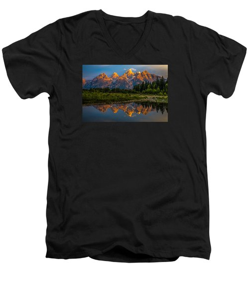 Dramatic Grand Teton Sunrise Men's V-Neck T-Shirt by Serge Skiba