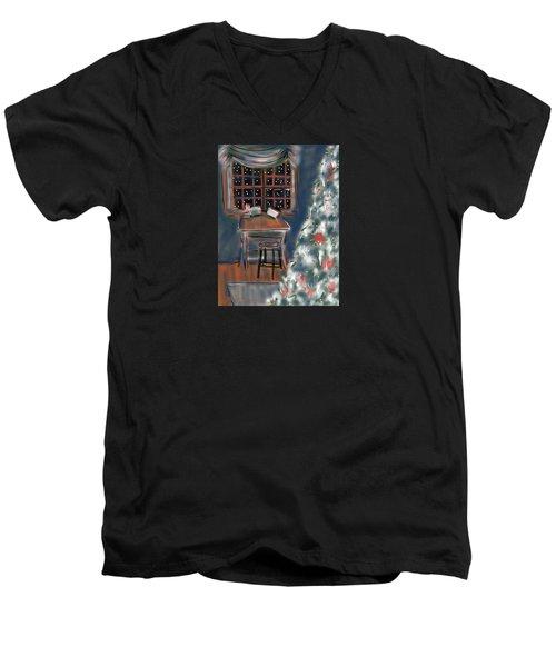 Drawing Board At Christmas Men's V-Neck T-Shirt by Jean Pacheco Ravinski