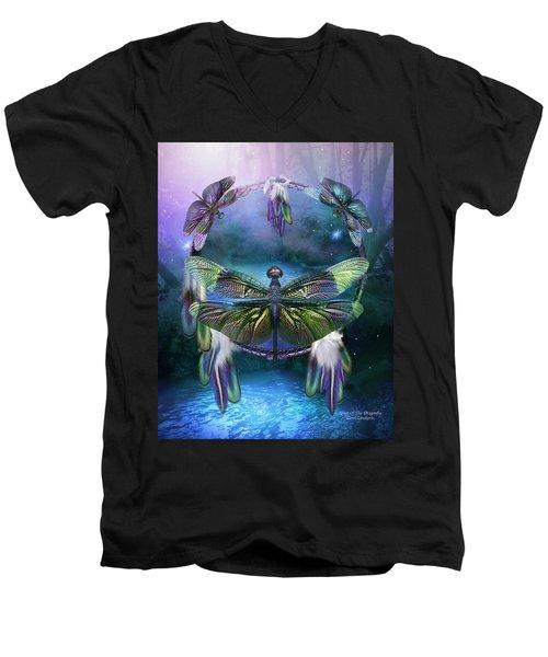 Dream Catcher - Spirit Of The Dragonfly Men's V-Neck T-Shirt