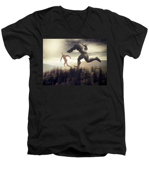 Men's V-Neck T-Shirt featuring the digital art Dreaming Of A Nameless Fear by John Alexander