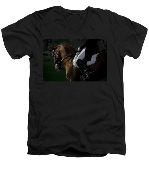 Men's V-Neck T-Shirt featuring the photograph Dressage D5284 by Wes and Dotty Weber