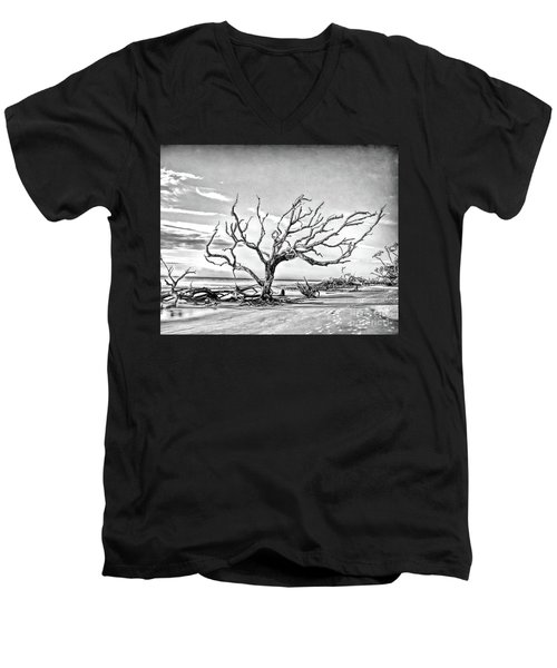 Men's V-Neck T-Shirt featuring the photograph Driftwood Beach - Black And White by Kerri Farley