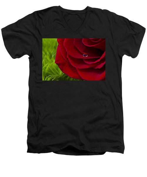 Drop On A Rose Men's V-Neck T-Shirt by Marlo Horne