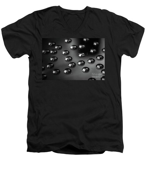 Drops Of Water - Macro - Black And White Men's V-Neck T-Shirt