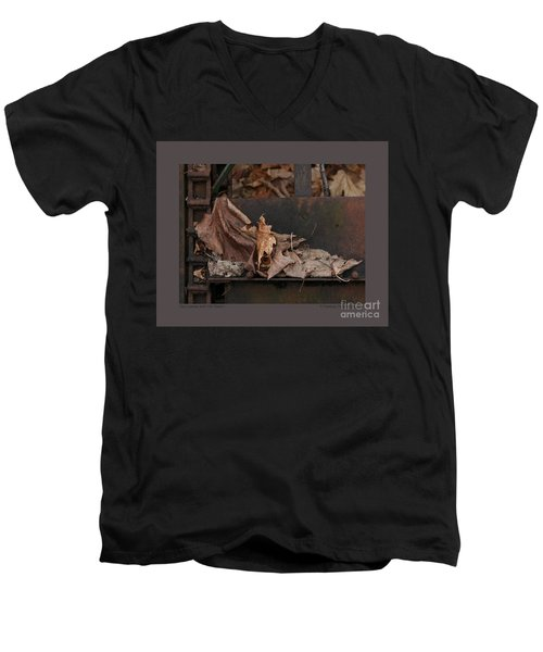 Men's V-Neck T-Shirt featuring the photograph Dry Leaves And Old Steel-i by Patricia Overmoyer