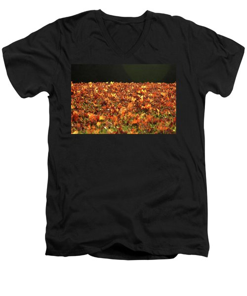 Dry Maple Leaves Covering The Ground Men's V-Neck T-Shirt by Emanuel Tanjala