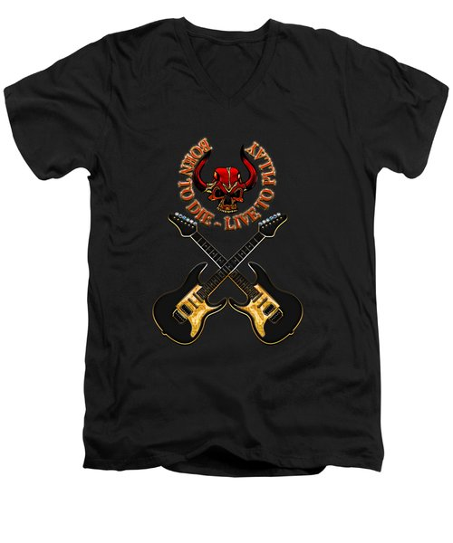 Dual Electric Guitars Men's V-Neck T-Shirt