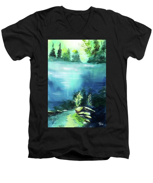 Men's V-Neck T-Shirt featuring the painting Duality by Anil Nene