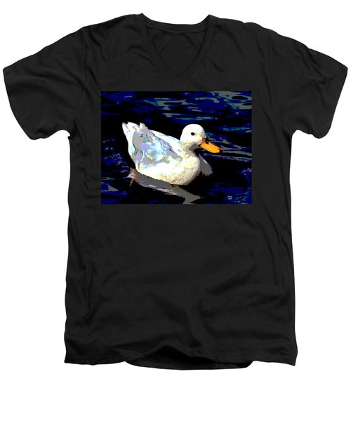 Men's V-Neck T-Shirt featuring the mixed media Duck In Water by Charles Shoup