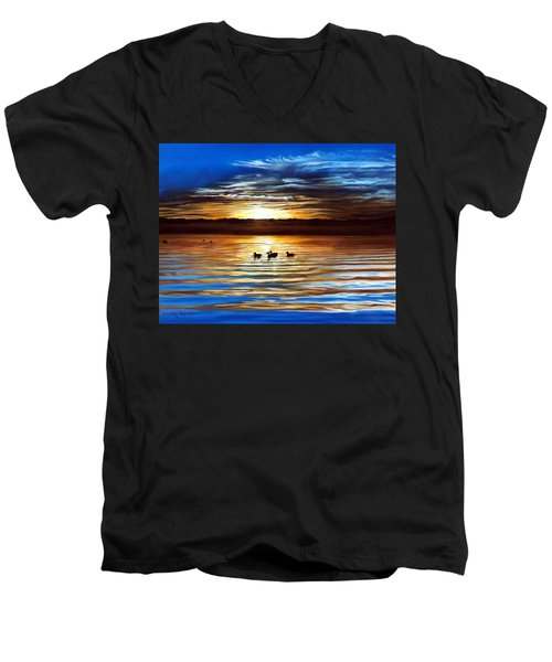 Ducks On Clear Lake Men's V-Neck T-Shirt