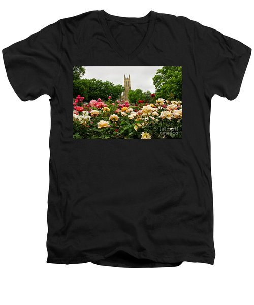 Duke Chapel And Roses Men's V-Neck T-Shirt