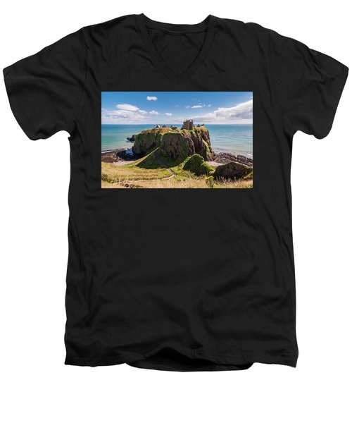Men's V-Neck T-Shirt featuring the photograph Dunnotar Castle by Sergey Simanovsky