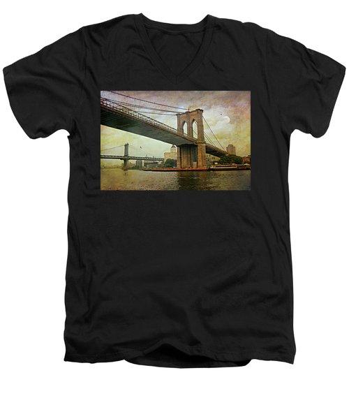 Dusk At The Bridge Men's V-Neck T-Shirt by Diana Angstadt