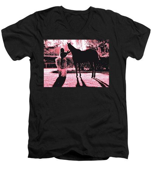 Dylly And Lizzy Pink Men's V-Neck T-Shirt by Valerie Rosen