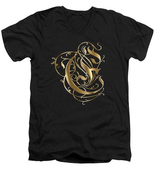E Golden Ornamental Letter Typography Men's V-Neck T-Shirt