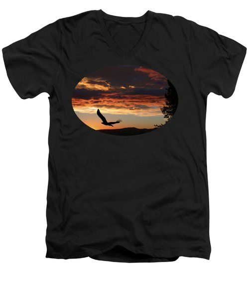 Eagle At Sunset Men's V-Neck T-Shirt