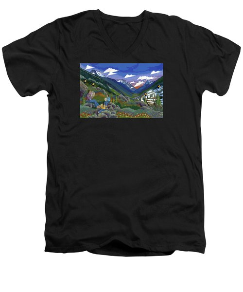 Men's V-Neck T-Shirt featuring the painting Eagle Boys Learn To Sing by Chholing Taha