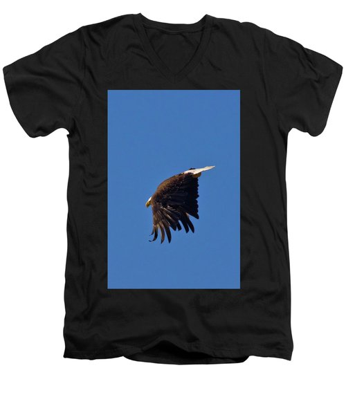 Men's V-Neck T-Shirt featuring the photograph Eagle Dive by Linda Unger