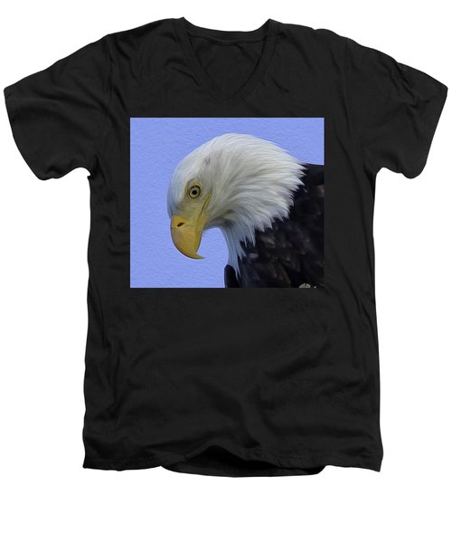 Eagle Head Paint Men's V-Neck T-Shirt by Sheldon Bilsker